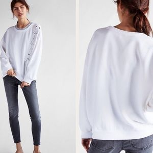 Express White lace up crew neck